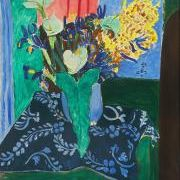 Arum, irises and mimosa (Blue vase with flowers on a blue tablecloth)